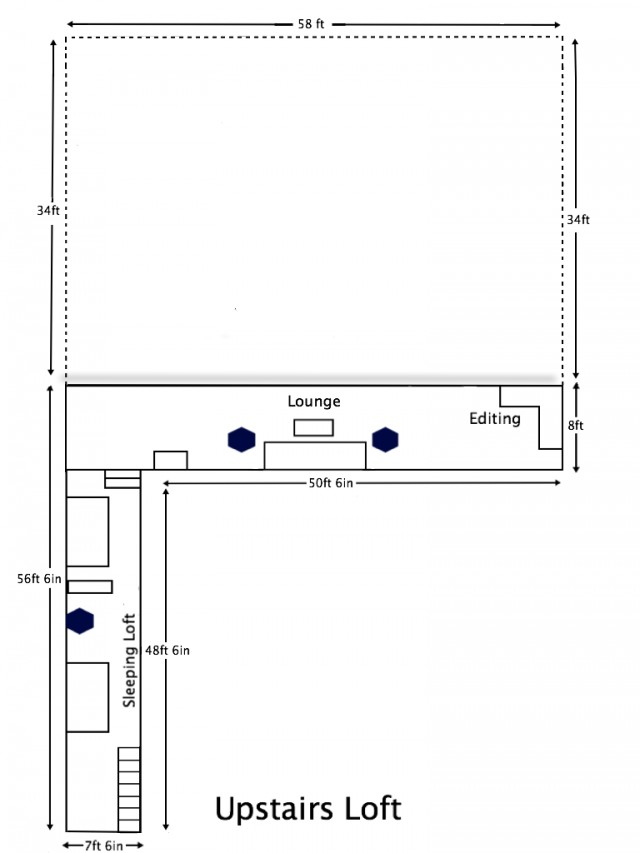 Scaled studio layout (upstairs)